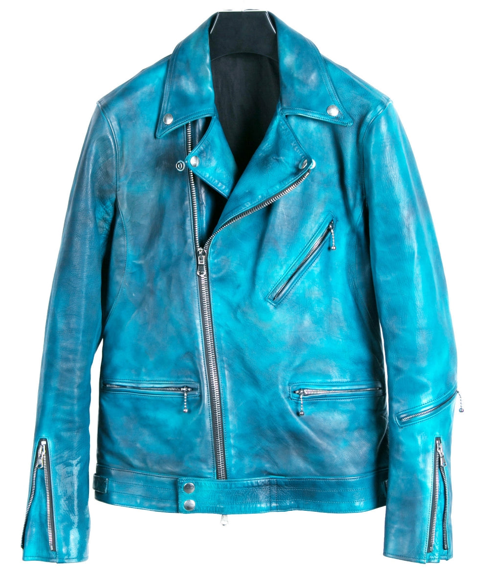 "[Burning dyed] Earthen full tannin calf ""SPEEDER"" double riders jacket / BLUE GREEN"