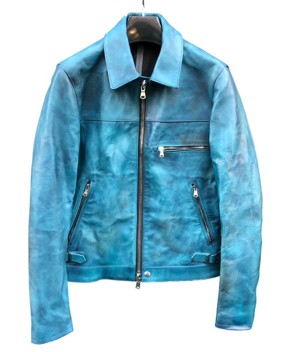 [Burning Dyed] Domestic Vegetable Full Tanned Calf Skin Single Riders Jacket / BLUE GREEN