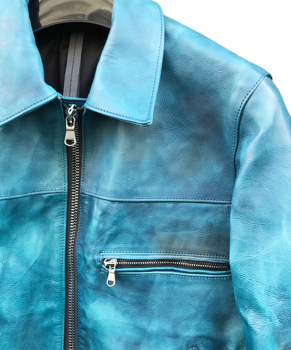 Load image into Gallery viewer, [Burning Dyed] Domestic Vegetable Full Tanned Calf Skin Single Riders Jacket / BLUE GREEN
