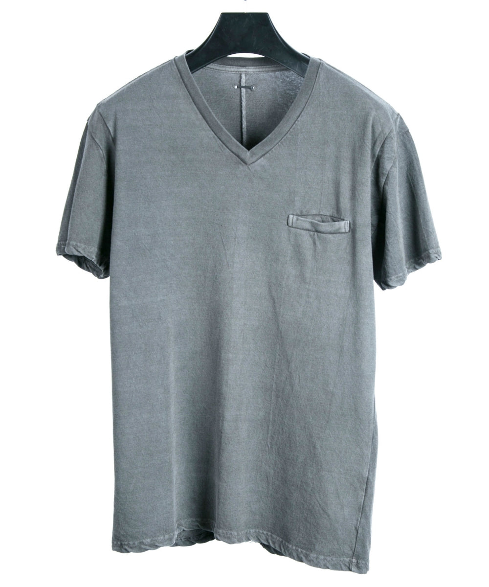 Pigment dyed V-neck T-shirt / Gray