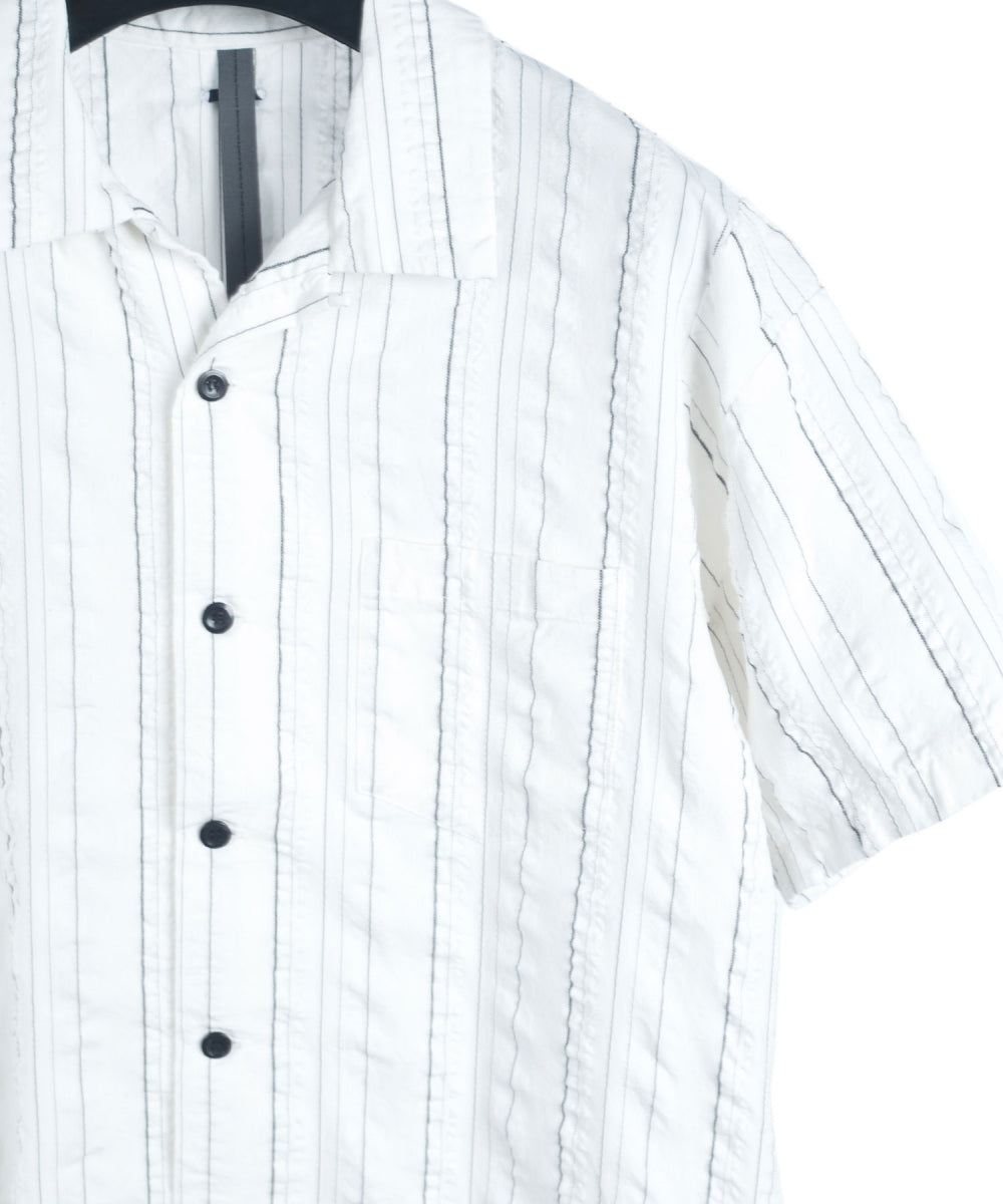 Load image into Gallery viewer, Soccer Stripe Open Collar Shirt / White