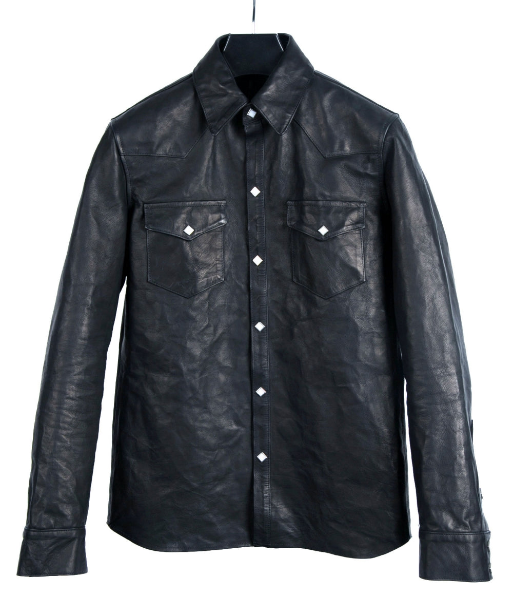 Domestic Vegetable Full Tanned Calf Skin Italian OIL / WAX Processed Western Shirt / Black