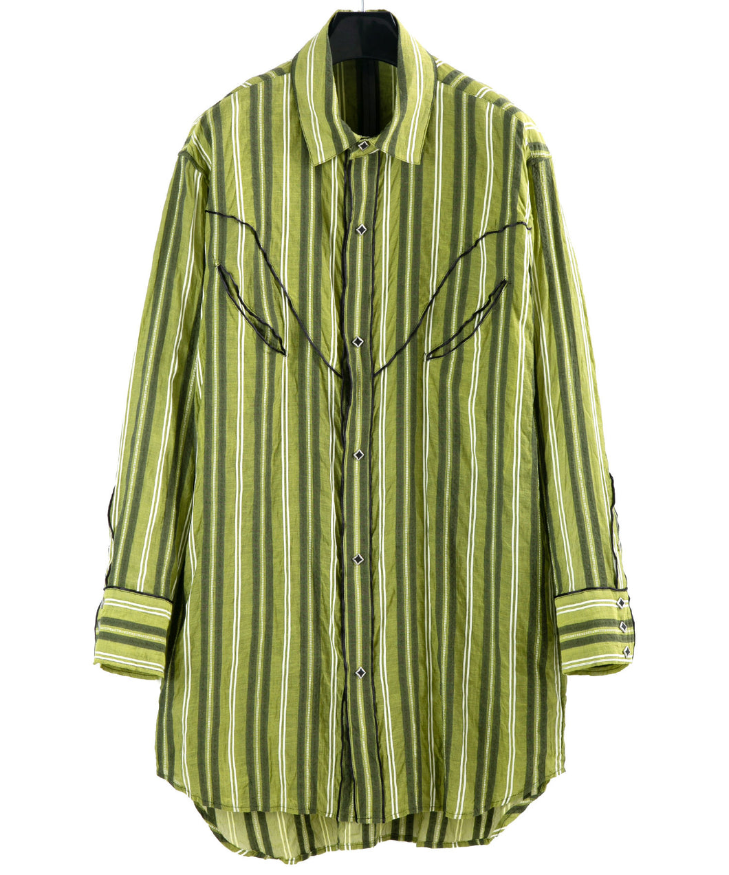 Cotton Silk Sashiko Stripe Western Over Shirt / Yellow