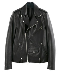 Load image into Gallery viewer, France Horsehide Double Grease Finished Double Riders Jacket / Black