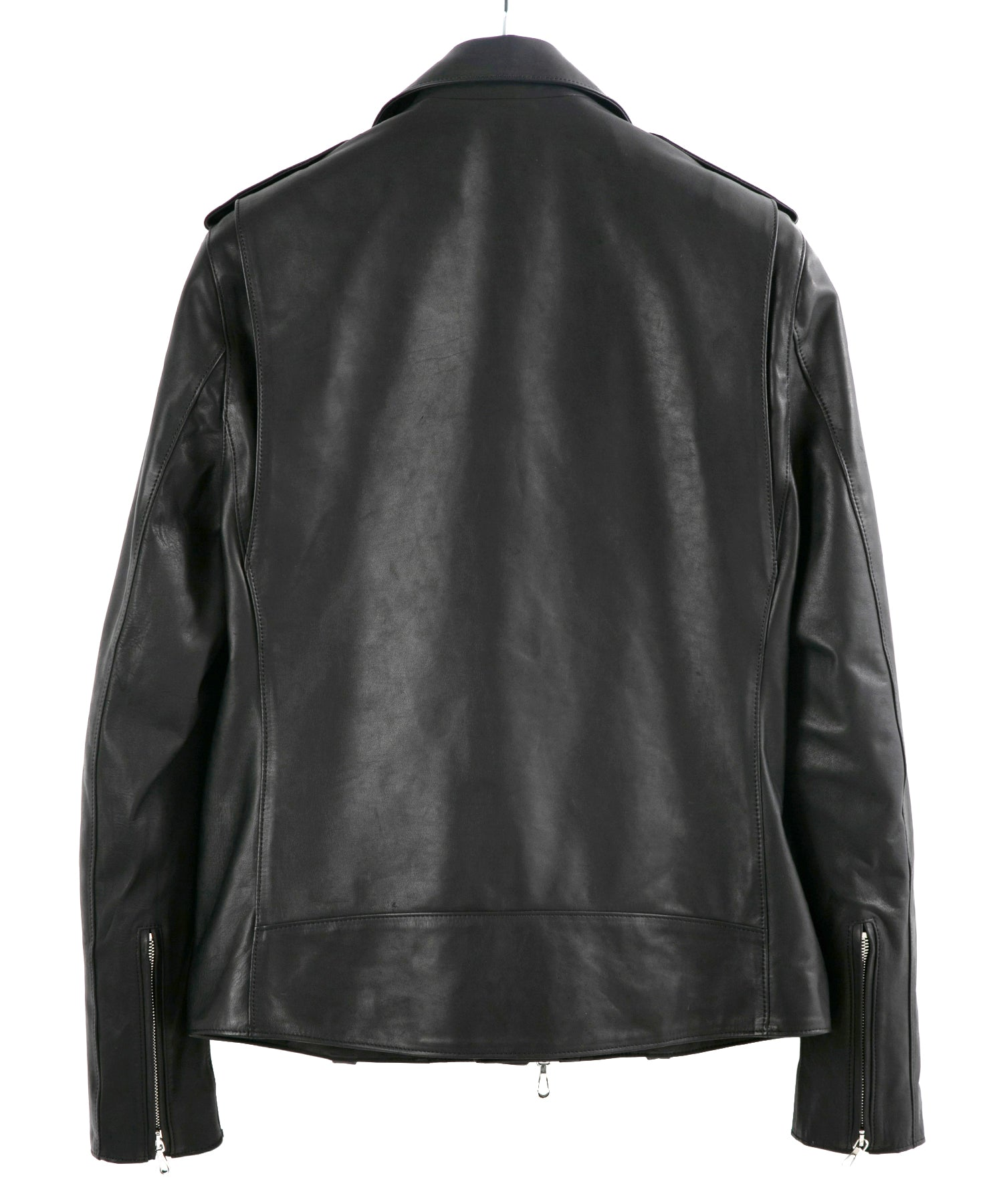 将图片加载到图库查看器,France Horsehide Double Grease Finished Double Riders Jacket / Black