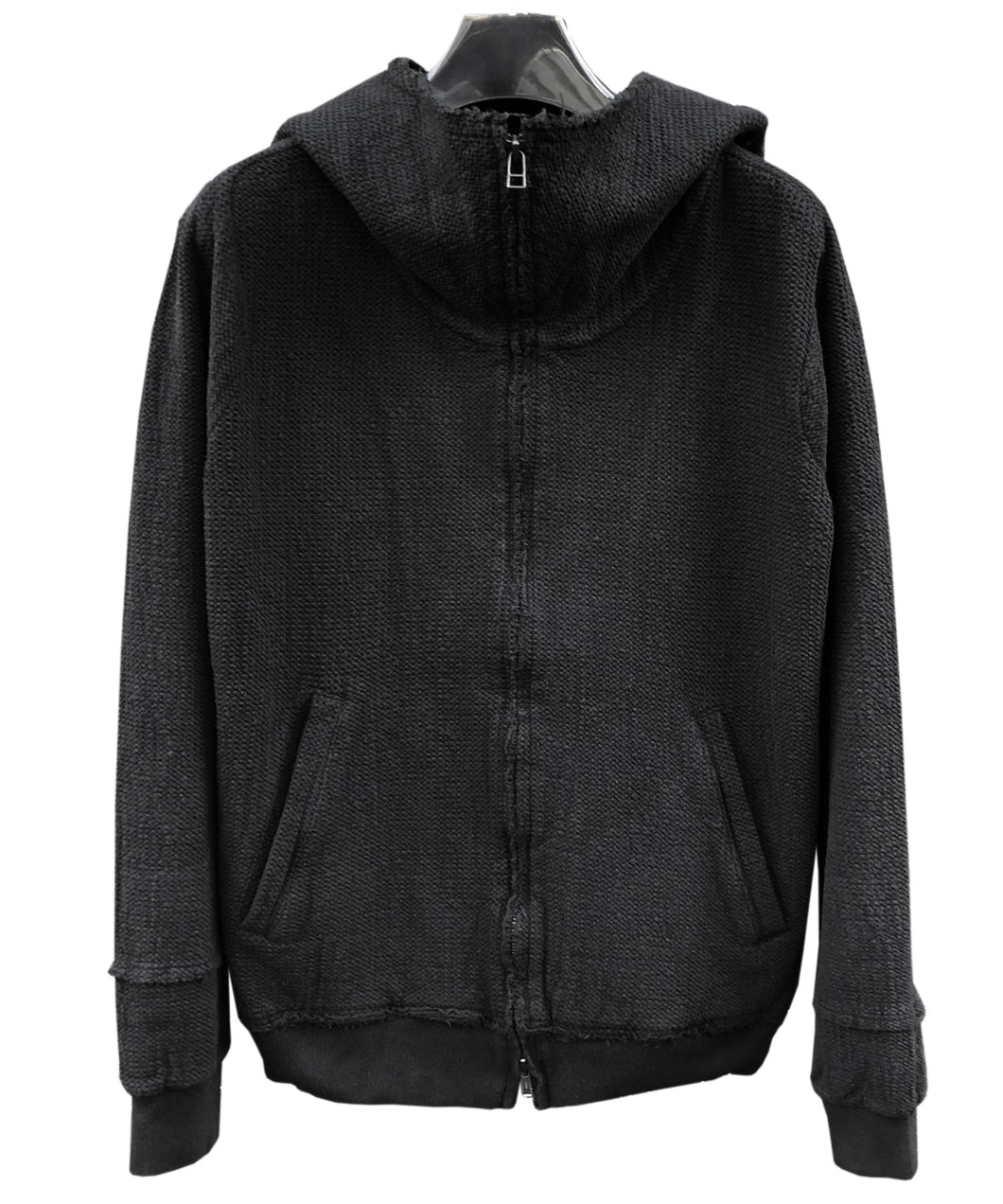 Stretch Jersey Garment Dyed Zip Up Hoody / Black