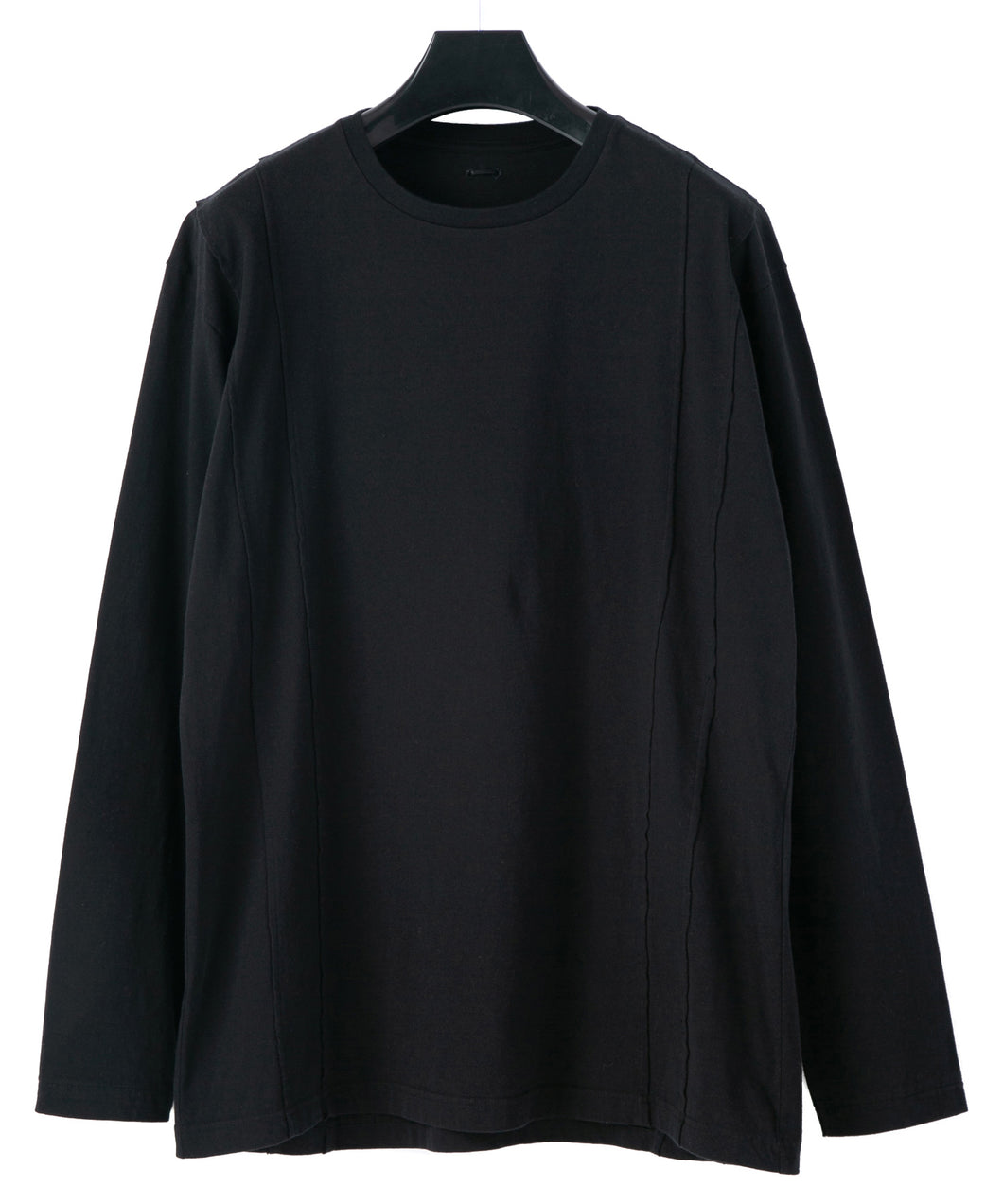 Natural Soft Cotton Plain Stitches Crew Neck Wide Long T-Shirt / BLACK