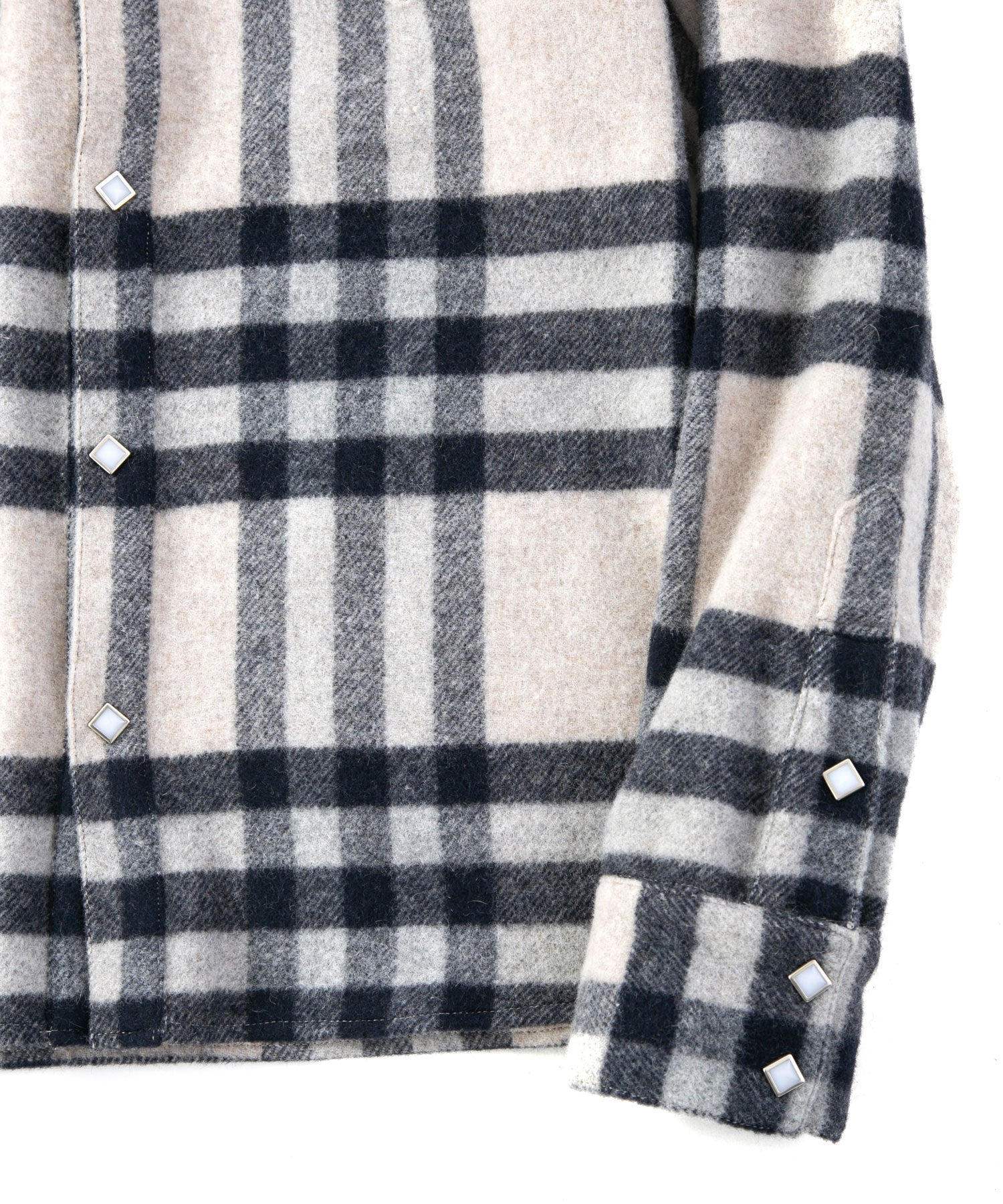 Load image into Gallery viewer, Angora Wool Shaggy Brushed Check Shirt / White