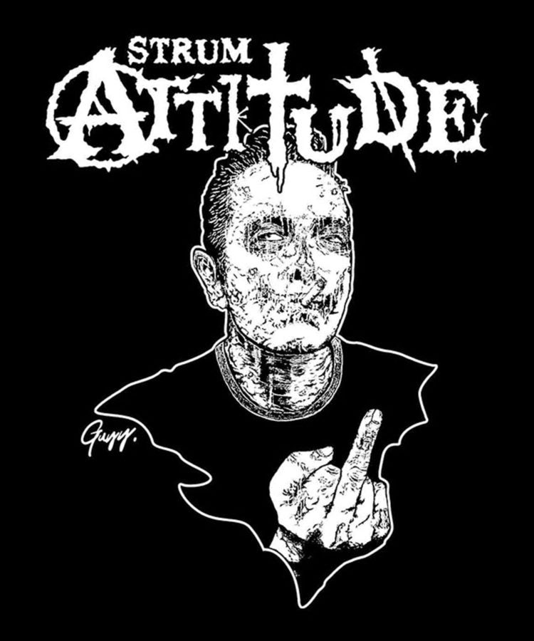 "Load image into Gallery viewer, [STRUM ATTITUDE] ""You Fuck'in rock"" Zombie T Shirts / Black"