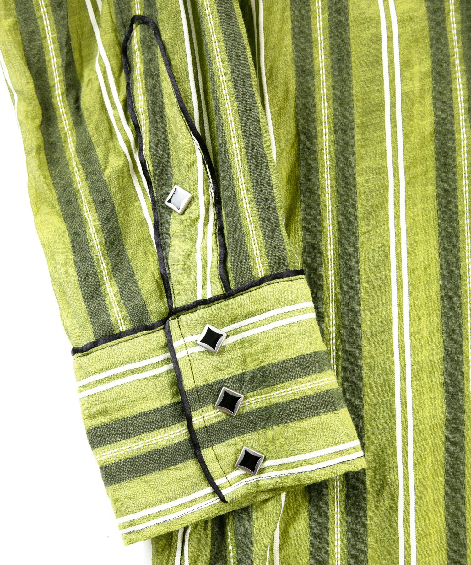 Load image into Gallery viewer, Cotton Silk Sashiko Stripe Western Over Shirt / Yellow