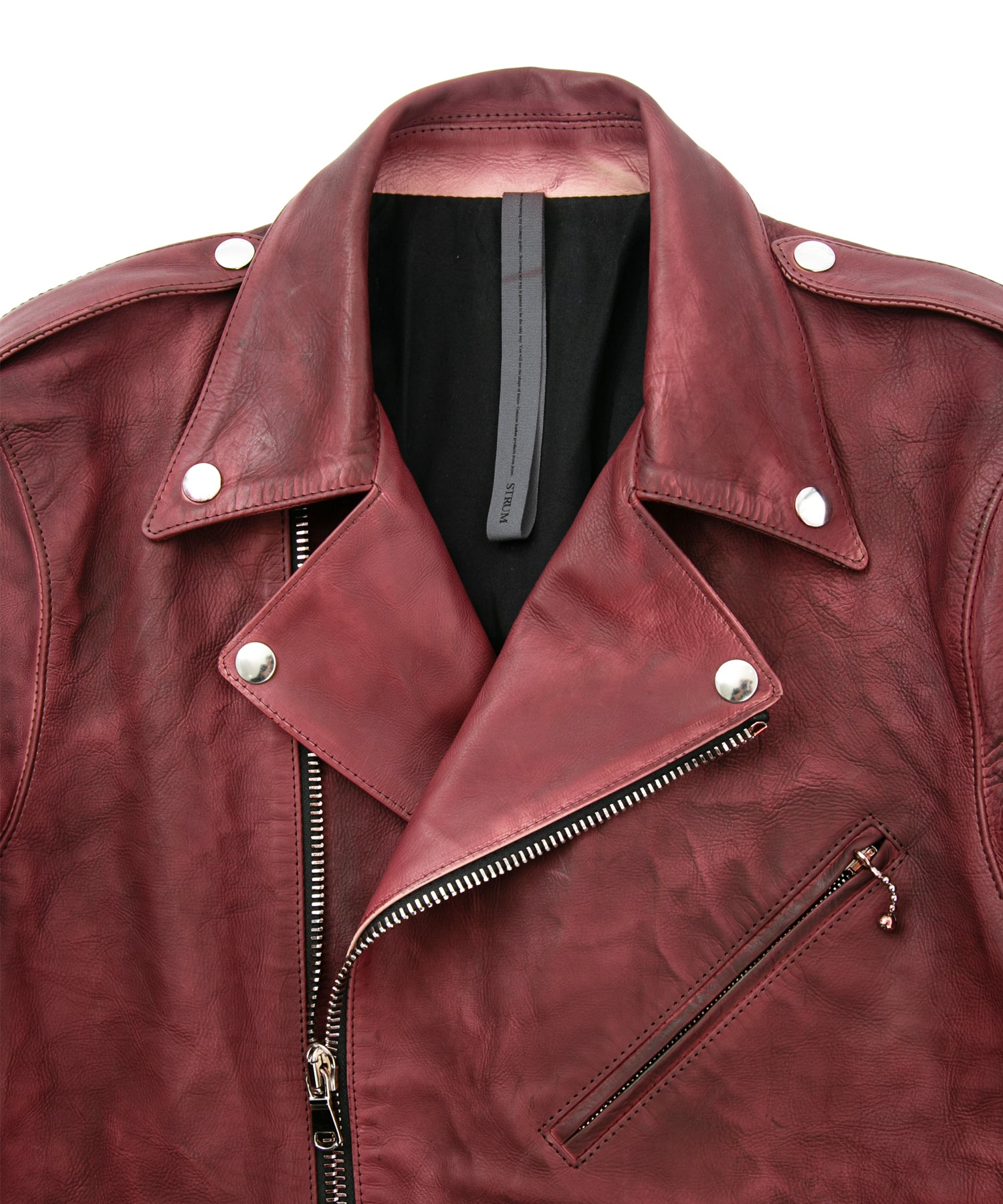将图片加载到图库查看器,Domestic Vegetable Full Tanned Calf Skin Garment Burning Dyed Double Riders / BURGUNDY