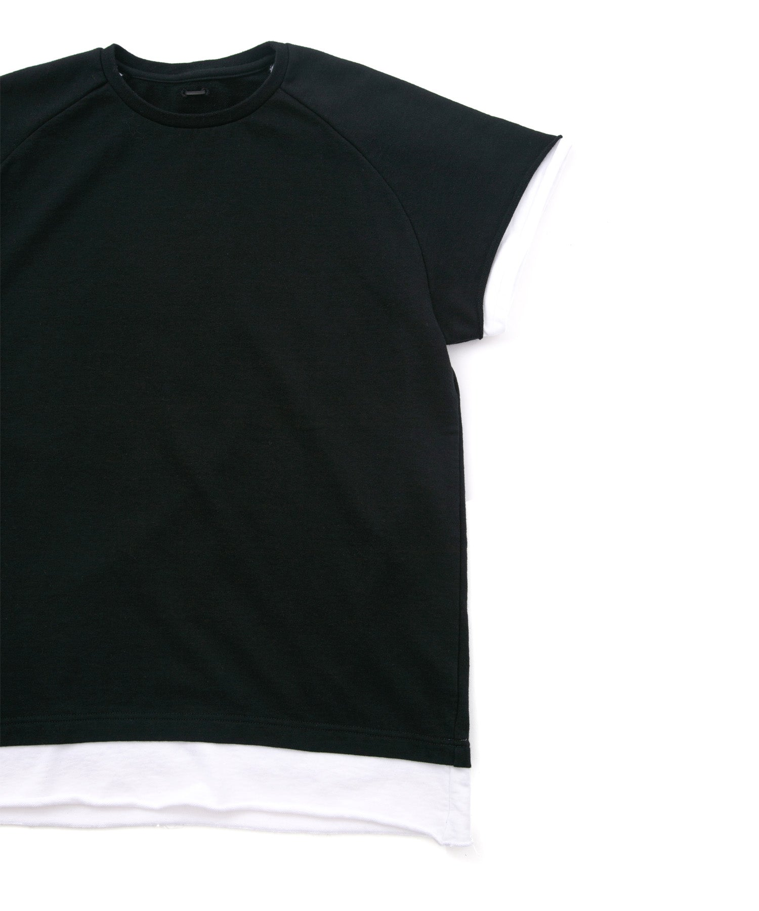 Load image into Gallery viewer, Loopback Sweat Crew Neck Layered T-Shirt / BLACK × WHITE