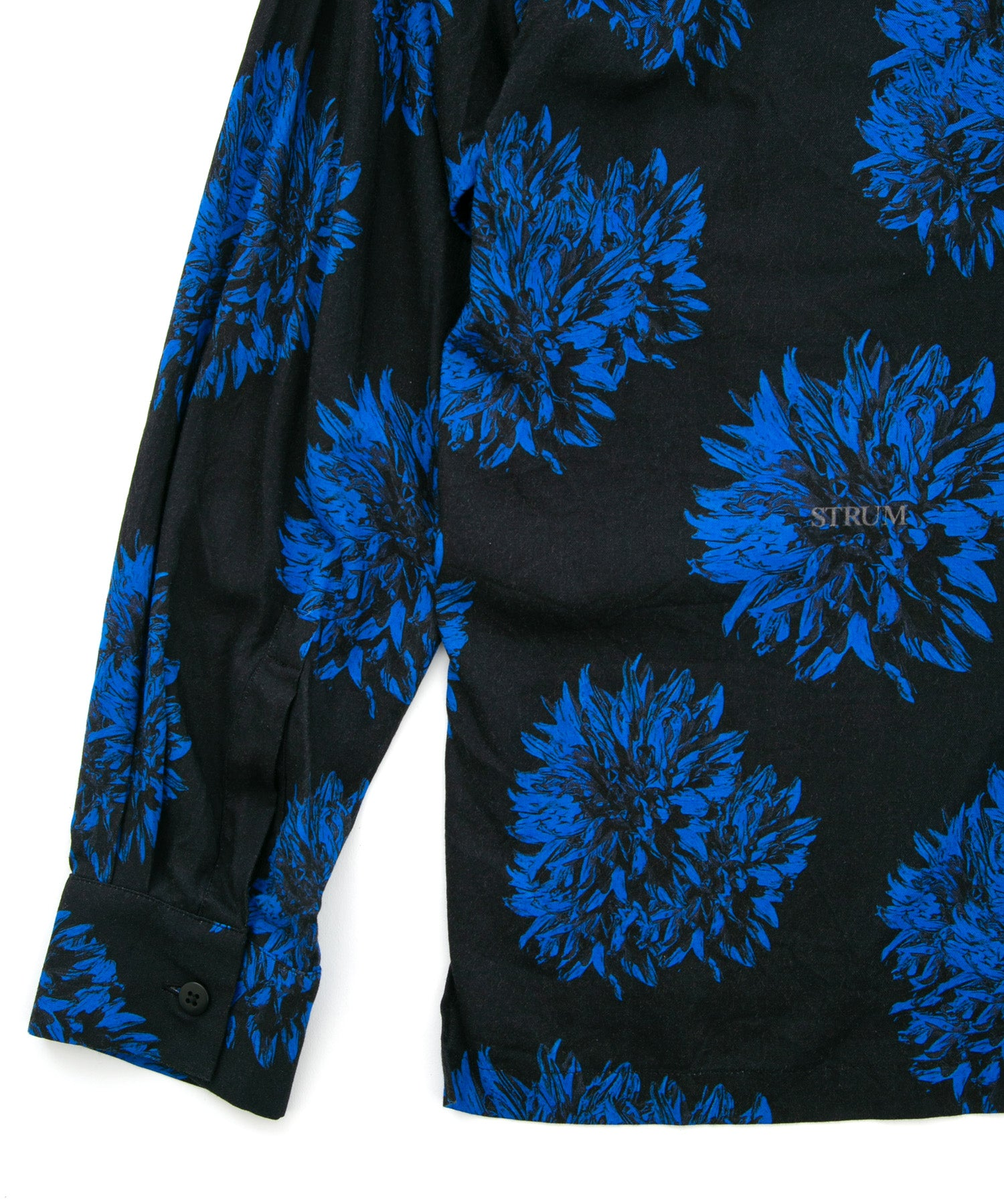 Load image into Gallery viewer, Dahlia Printed Rayon Silk Long-Sleeved Shirt / BLACK × BLUE