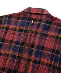 将图片加载到图库查看器,Tartan Plaid Shirring Stretch Cotton Long Sleeved Tiered Shirt / RED