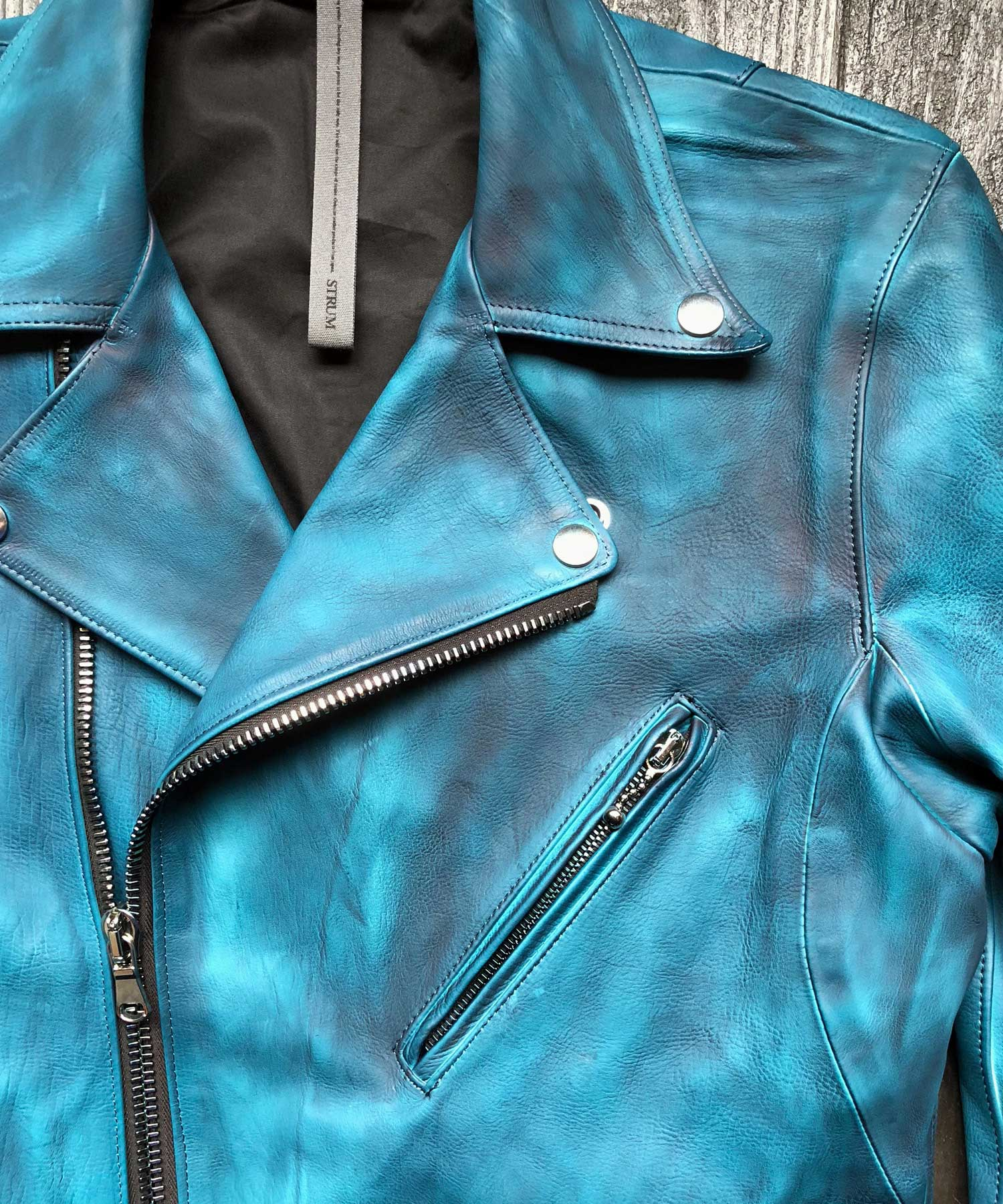 "将图片加载到图库查看器,[Burning dyed] Earthen full tannin calf ""SPEEDER"" double riders jacket / BLUE GREEN"