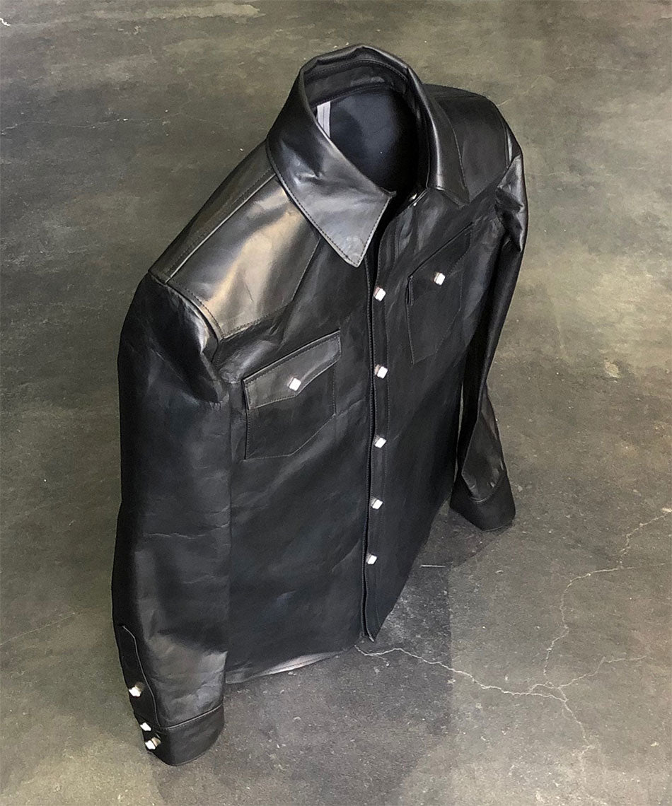 Load image into Gallery viewer, Domestic Vegetable Full Tanned Calf Skin Italian OIL / WAX Processed Western Shirt / Black