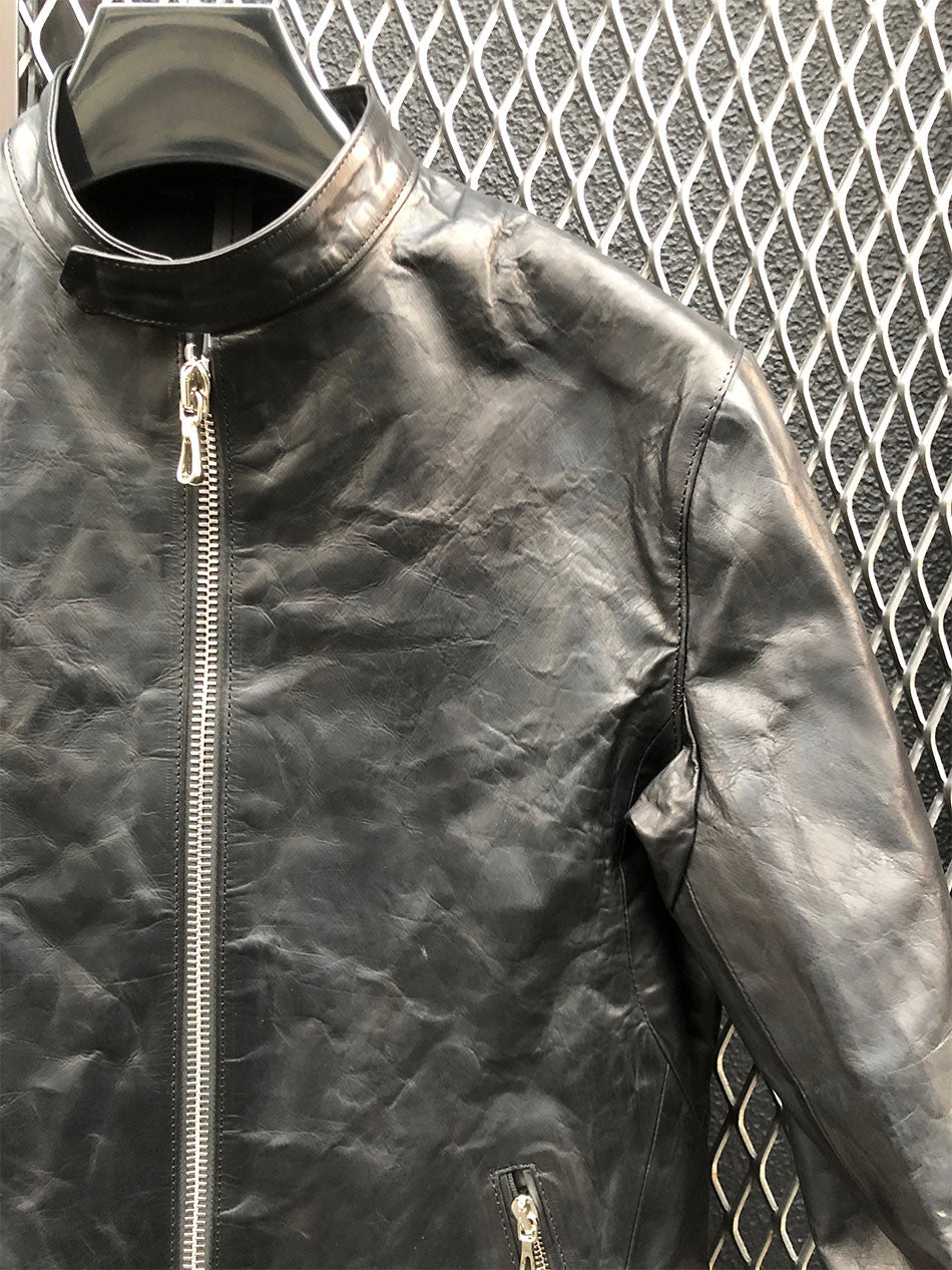 Load image into Gallery viewer, Domestic Vegetable Full Tanned Calf Skin Italian OIL / WAX Processed Single Riders Jacket / Black