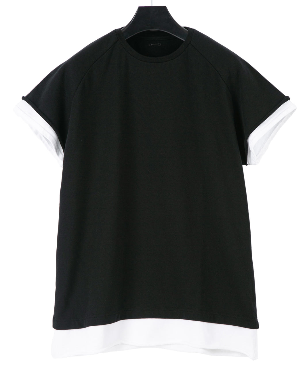 Loopback Sweat Crew Neck Layered T-Shirt / BLACK × WHITE