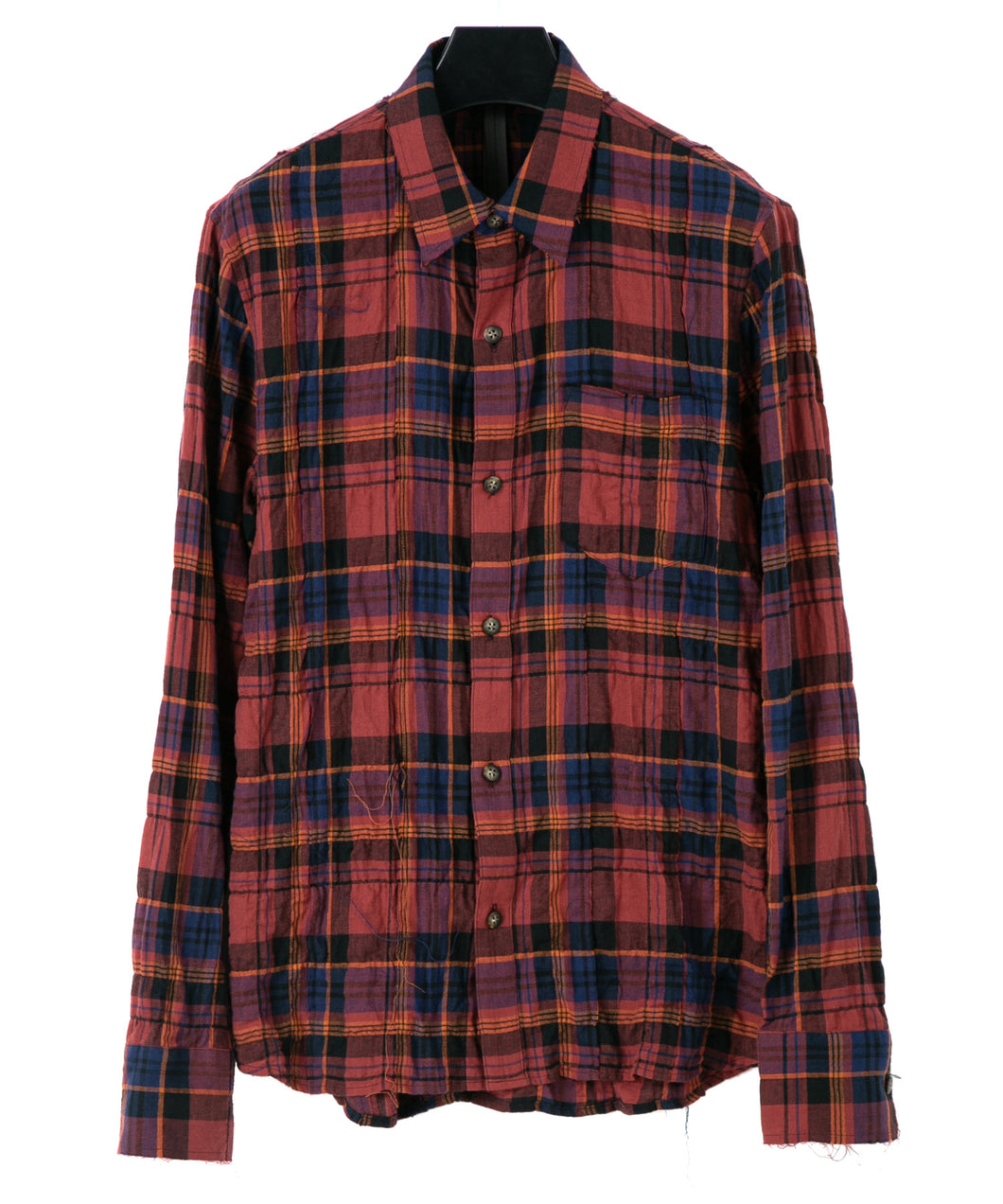 Tartan Plaid Shirring Stretch Cotton Long Sleeved Tiered Shirt / RED