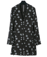 Load image into Gallery viewer, Polka-dots Cutting Jacquard Long Cardigan / BLACK × GRAY