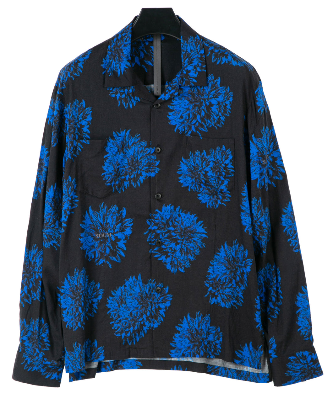 Dahlia Printed Rayon Silk Long-Sleeved Shirt / BLACK × BLUE