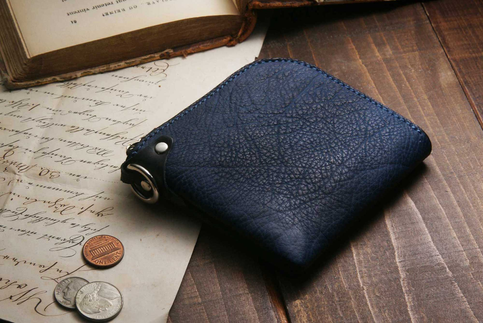 将图片加载到图库查看器, [Burning Dyed] Domestic Vegetable Full Tanned Calf Shrank Skin Wallet / Gun Blue