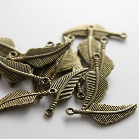 Base Metal Charms-Feather 30x11mm (11298Y)