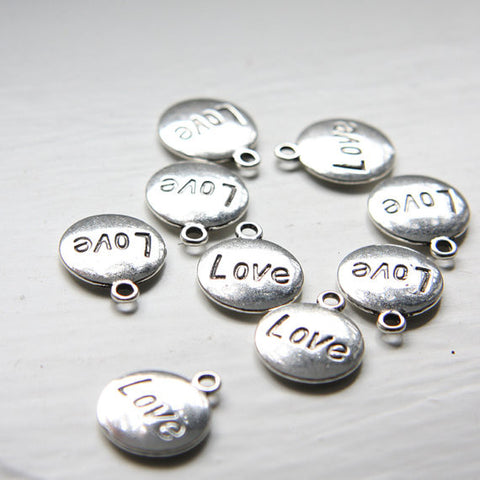 Base Metal Charms-Round Love Tag 18x15mm (12107Y)