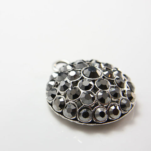 Base Metal Pendants with Rhinestones 41x34mm (12464Y)