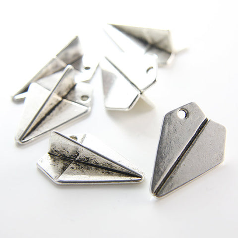 Base Metal Charms - Paper airplane 31x21mm (15524Y)