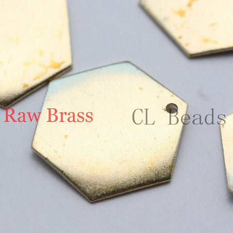 Brass Base Charm - Honeycomb Hexagons 17mm (1697C)