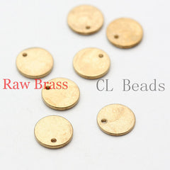 Brass Base Charm - Round Tag - Disc 8mm (1762C)
