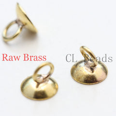 Brass Base Charm - Glue On Bead Cap with Loop 6x5mm (1803C)