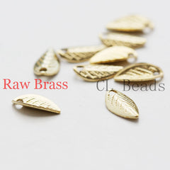 Brass Base Charm - Leaf 7.5x4mm (1865C)