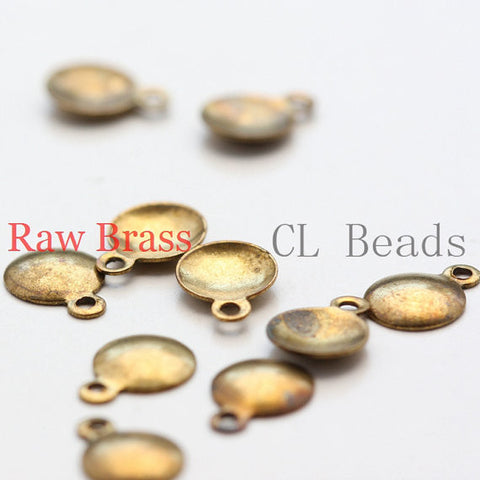 Brass Base Charm - Round Disc with Loop 6x8mm (1868C)