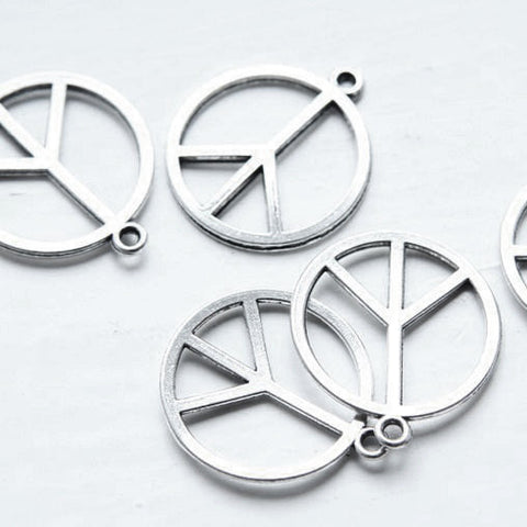 Base Metal Charms-Peace Sign 14mm (1941Y)