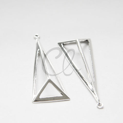 Brass Base 3D Triangle Pendant - 66.8x23mm (1961C)