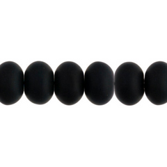 100 Pieces Czech Glass Donut Beads - Matte Black 8mm (PG9700027)