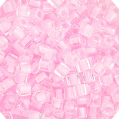 Japanese Miyuki Cube Bead - Light Pink Lined Luster 4mm - 20 Grams