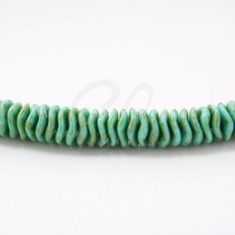 12pcs Czech Preciosa Ripple Beads - Waved Disk - Turquoise Opaque Travertine 12mm (10S5)