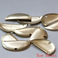 Brass Base 3 Holes Half Circle - Moon - Charm 35x19mm (3728C)