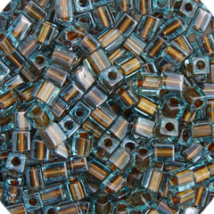 Japanese Miyuki Cube Bead - Light Blue Transparent Bronze Lined 4mm - 20 Grams