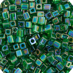 Japanese Miyuki Cube Bead - Green Transparent Iris 4mm - 20 Grams