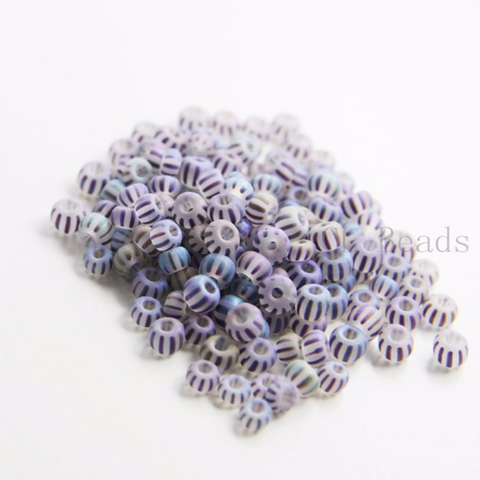 25 Grams Czech Rocailles Preciosa 6/0  Seed Beads - Matte Transparent Striped AB Blue -Size 6 (PS01781)