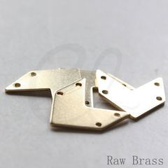 Brass Arrow Charm with 4 Holes - 20x18mm (3788C)