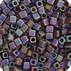 Japanese Miyuki Cube Bead - Matte Dark Brown Rainbow Opaque Iris 4mm - 20 Grams