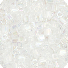 Japanese Miyuki Cube Bead - Crystal Rainbow Transparent Iris 4mm - 20 Grams