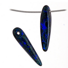 Czech Glass Thorn -  Spikes - Dark Blue Transparent Travertine 5x16mm (96330)
