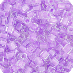 Japanese Miyuki Cube Bead - Light Violet Lined Luster 4mm - 20 Grams