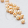 25 Grams Czech Preciosa 6/0 Ponybead  - White Orange Terra Melafyr -Size 6 (PS43208)